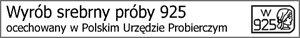 Wyrób srebrny próby 925, ocechowany w Poslkim Urzędzie Probierczym.